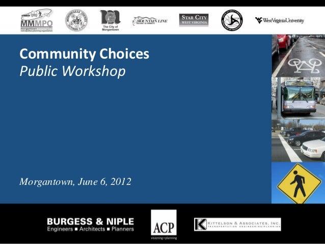 Community ChoicesPublic WorkshopMorgantown, June 6, 2012