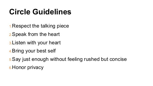 Circle Guidelines 1.Respect the talking piece 2.Speak from the heart 3.Listen with your heart 4.Bring your best self 5.Say...