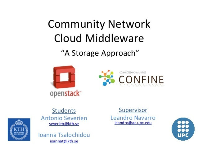 "Community	  Network	  	       Cloud	  Middleware	               ""A	  Storage	  Approach""	      Students	                  ..."