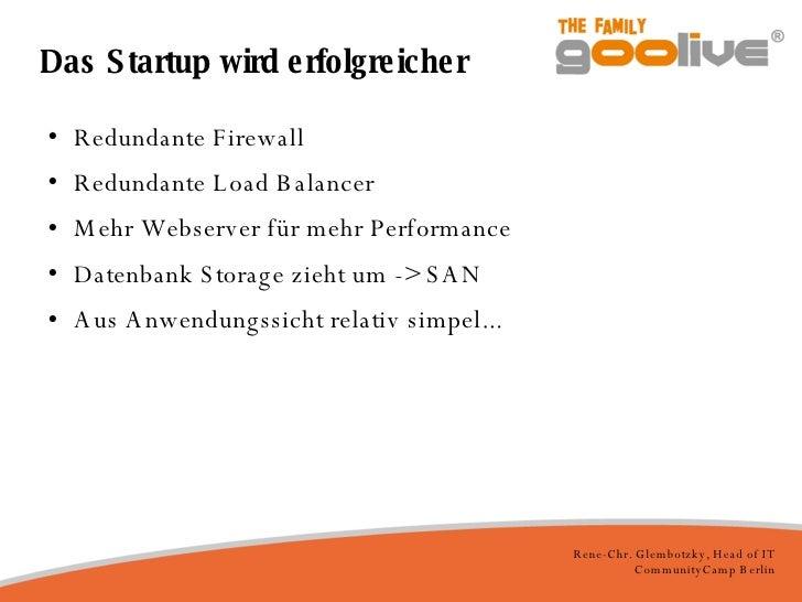 Das Startup wird erfolgreicher <ul><li>Redundante Firewall </li></ul><ul><li>Redundante Load Balancer </li></ul><ul><li>Me...