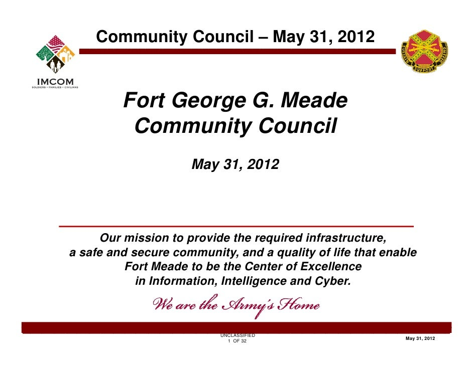 Community Council – May 31, 2012         Fort George G. Meade          Community Council                     May 31       ...