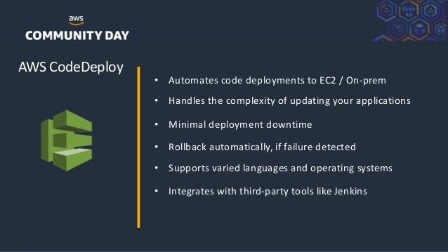 ©2018, AmazonWebServices, Inc. or its Affiliates. All rights reserved. AWS CodeDeploy • Automates code deployments to EC2 ...