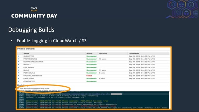 ©2018, AmazonWebServices, Inc. or its Affiliates. All rights reserved. Debugging Builds • Enable Logging in CloudWatch / S3