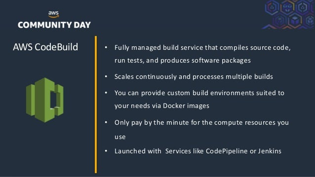 ©2018, AmazonWebServices, Inc. or its Affiliates. All rights reserved. AWS CodeBuild • Fully managed build service that co...