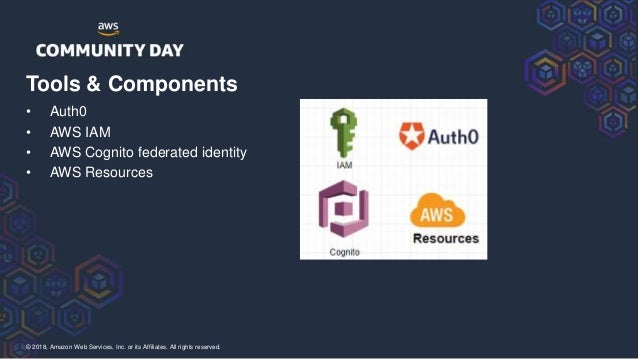 © 2018, Amazon Web Services, Inc. or its Affiliates. All rights reserved. • Auth0 • AWS IAM • AWS Cognito federated identi...