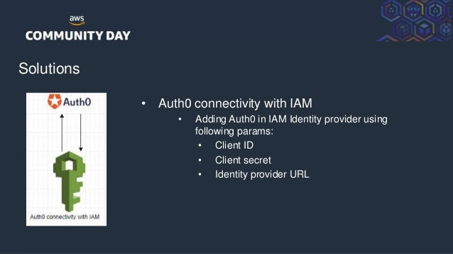 © 2018, Amazon Web Services, Inc. or its Affiliates. All rights reserved. Solutions • Auth0 connectivity with IAM • Adding...