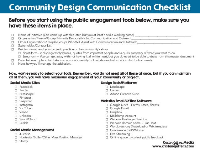 Before you start using the public engagement tools below, make sure you have these items in place. Community Design Commun...