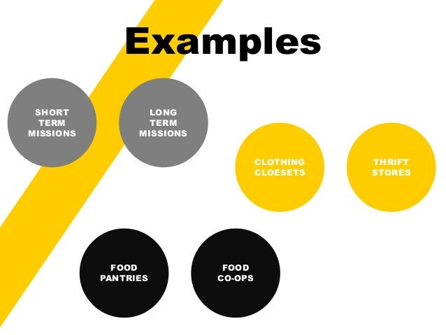 Examples  SHORT  TERM  MISSIONS  LONG  TERM  MISSIONS  FOOD  PANTRIES  FOOD  CO-OPS  CLOTHING  CLOESETS  THRIFT  STORES