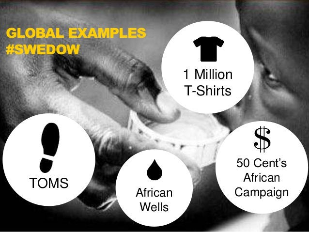 GLOBAL EXAMPLES  #SWEDOW  1 Million  T-Shirts  TOMS  African  Wells  50 Cent's  African  Campaign