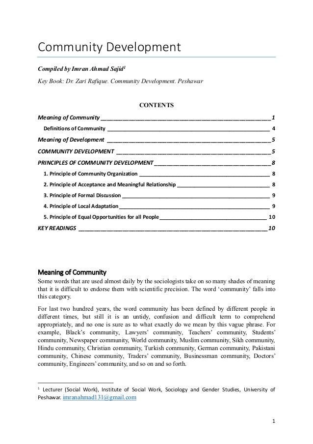 Community DevelopmentCompiled by Imran Ahmad Sajid1Key Book: Dr. Zari Rafique. Community Development. Peshawar            ...