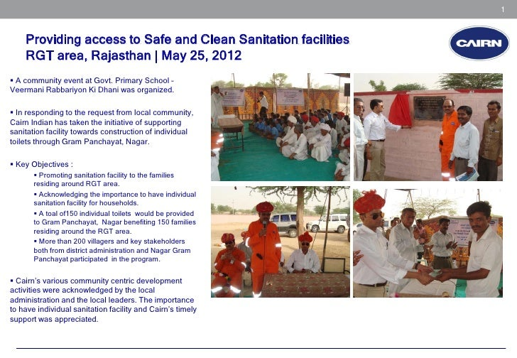 1    Providing access to Safe and Clean Sanitation facilities    RGT area, Rajasthan | May 25, 2012 A community event at ...