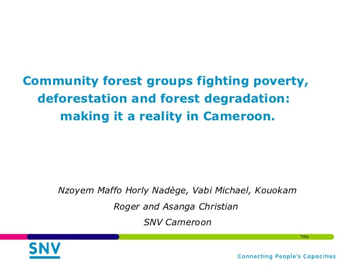 Community forest groups fighting poverty,  deforestation and forest degradation:  making it a reality in Cameroon. Nzoyem...