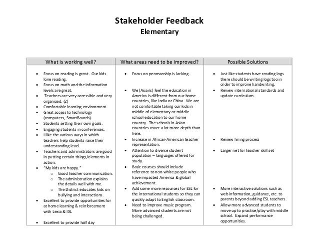 Stakeholder Feedback                                                                Elementary            What is working ...