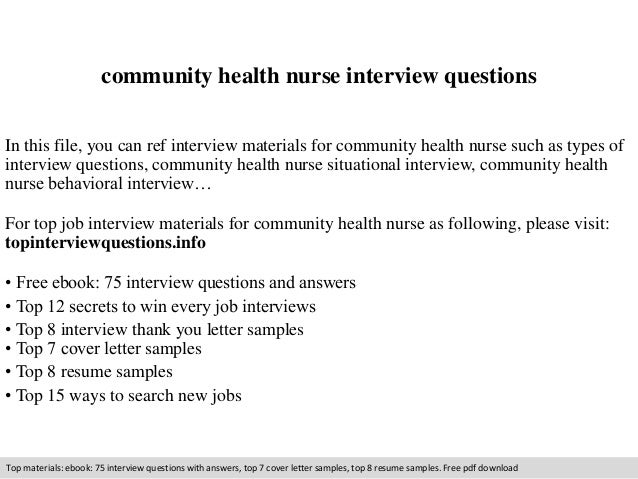 Community health nurse interview questions