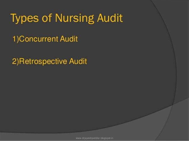 Types of Nursing Audit1)Concurrent Audit2)Retrospective Auditwww.drjayeshpatidar.blogspot.in