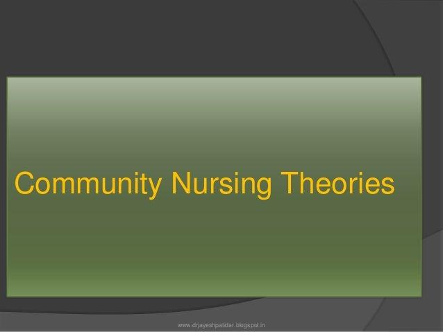 Community Nursing Theorieswww.drjayeshpatidar.blogspot.in