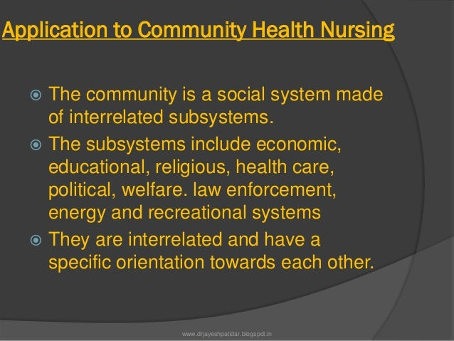 Application to Community Health Nursing The community is a social system madeof interrelated subsystems. The subsystems ...