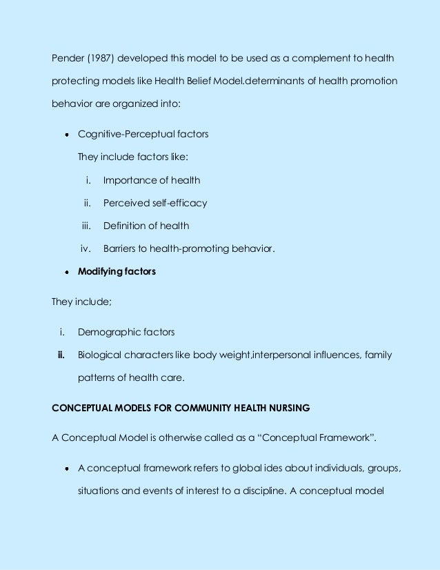 Pender (1987) developed this model to be used as a complement to healthprotecting models like Health Belief Model.determin...