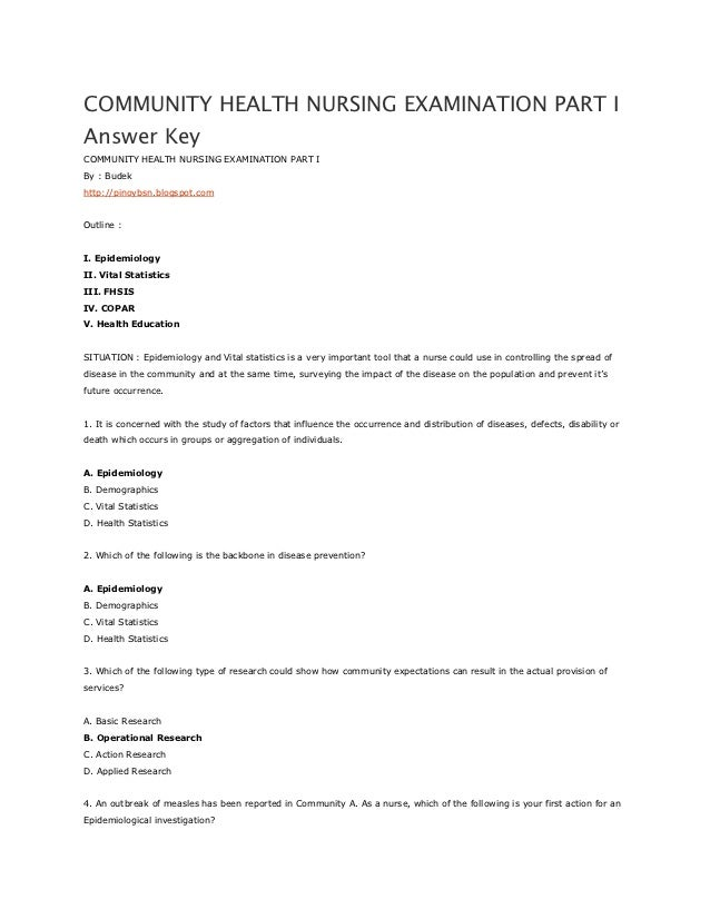 Community Health Nursing Examination Part I Answer Key
