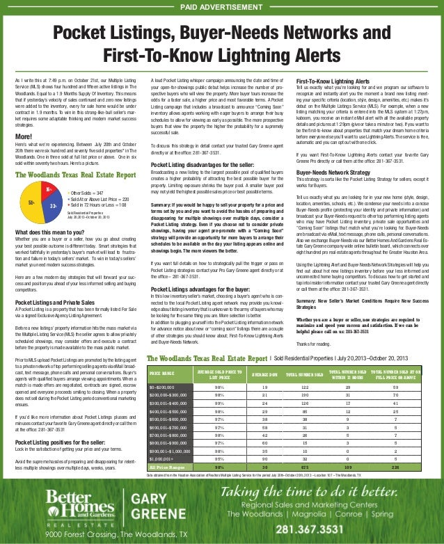 PAID ADVERTISEMENT  Pocket Listings, Buyer-Needs Networks and First-To-Know Lightning Alerts As I write this at 7:49 p.m. ...