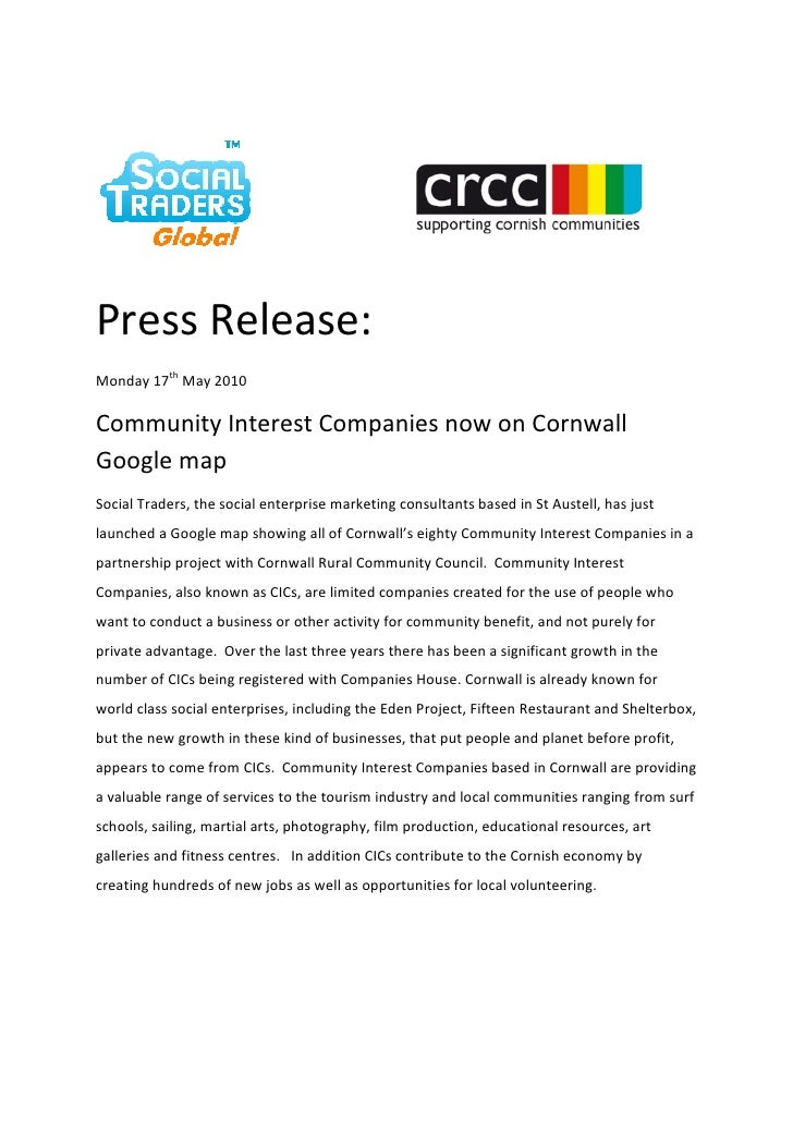 Press Release: Monday 17th May 2010  Community Interest Companies now on Cornwall Google map Social Traders, the social en...