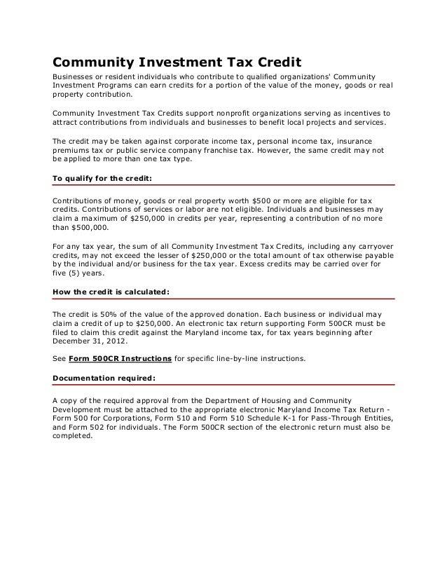 Community Investment Tax Credit