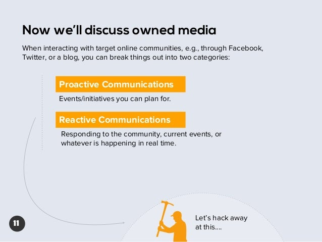 Now we'll discuss owned media When interacting with target online communities, e.g., through Facebook, Twitter, or a blog,...