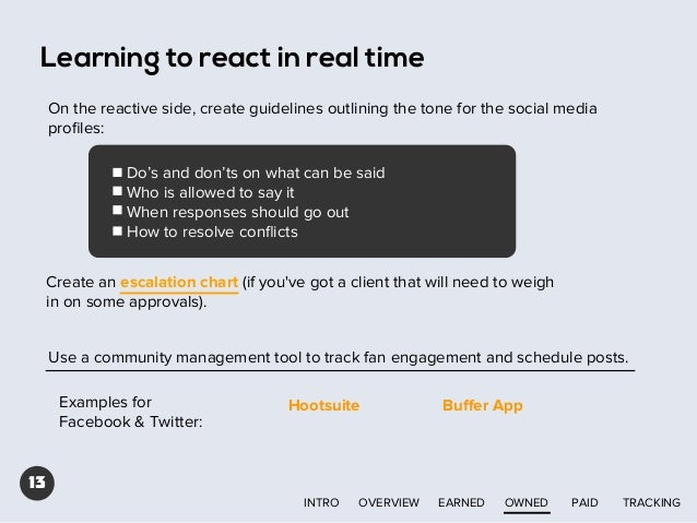 Learning to react in real time On the reactive side, create guidelines outlining the tone for the social media profiles: Do...