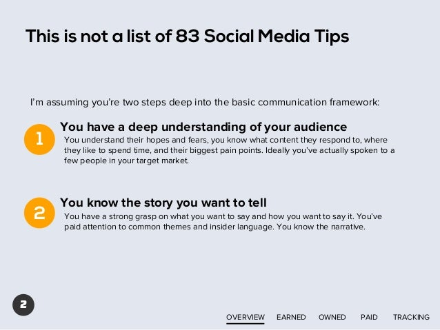 This is not a list of 83 Social Media Tips  I'm assuming you're two steps deep into the basic communication framework:  1 ...