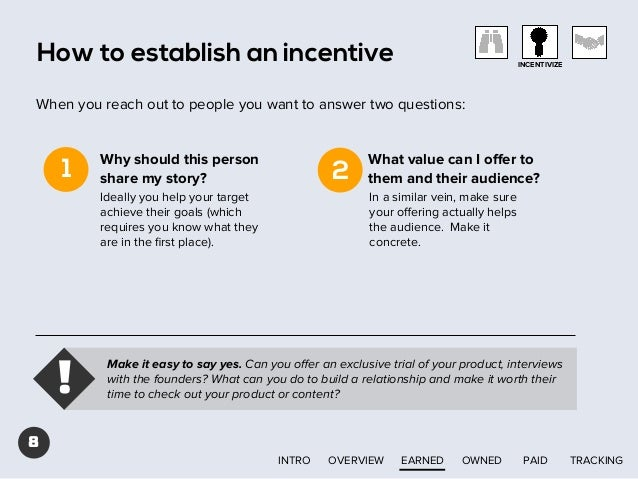 How to establish an incentive  INCENTIVIZE  When you reach out to people you want to answer two questions:  1  Why should ...