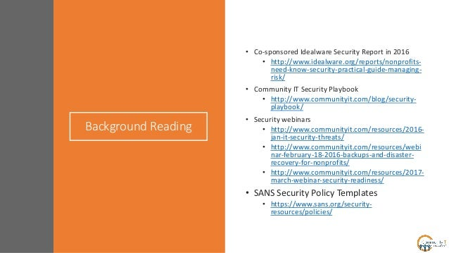 Community it crafting nonprofit it security policy for Sans security policy templates