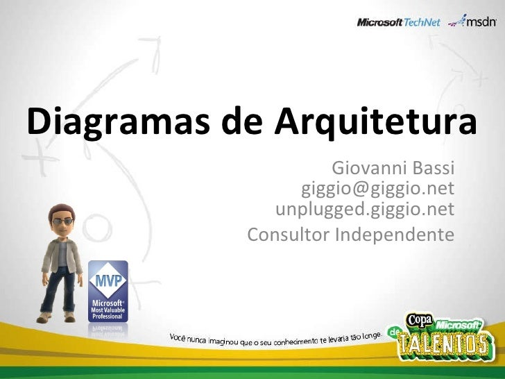 Diagramas de Arquitetura Giovanni Bassi [email_address] unplugged.giggio.net Consultor Independente