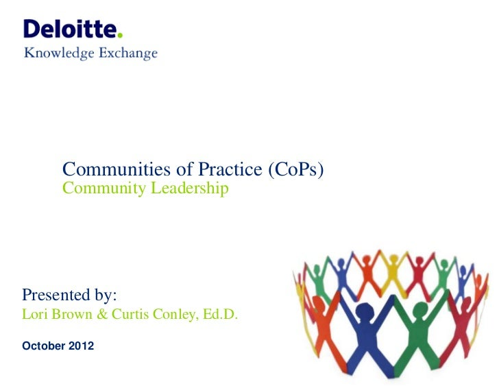 Communities of Practice (CoPs)      Community LeadershipPresented by:Lori Brown & Curtis Conley, Ed.D.October 2012        ...