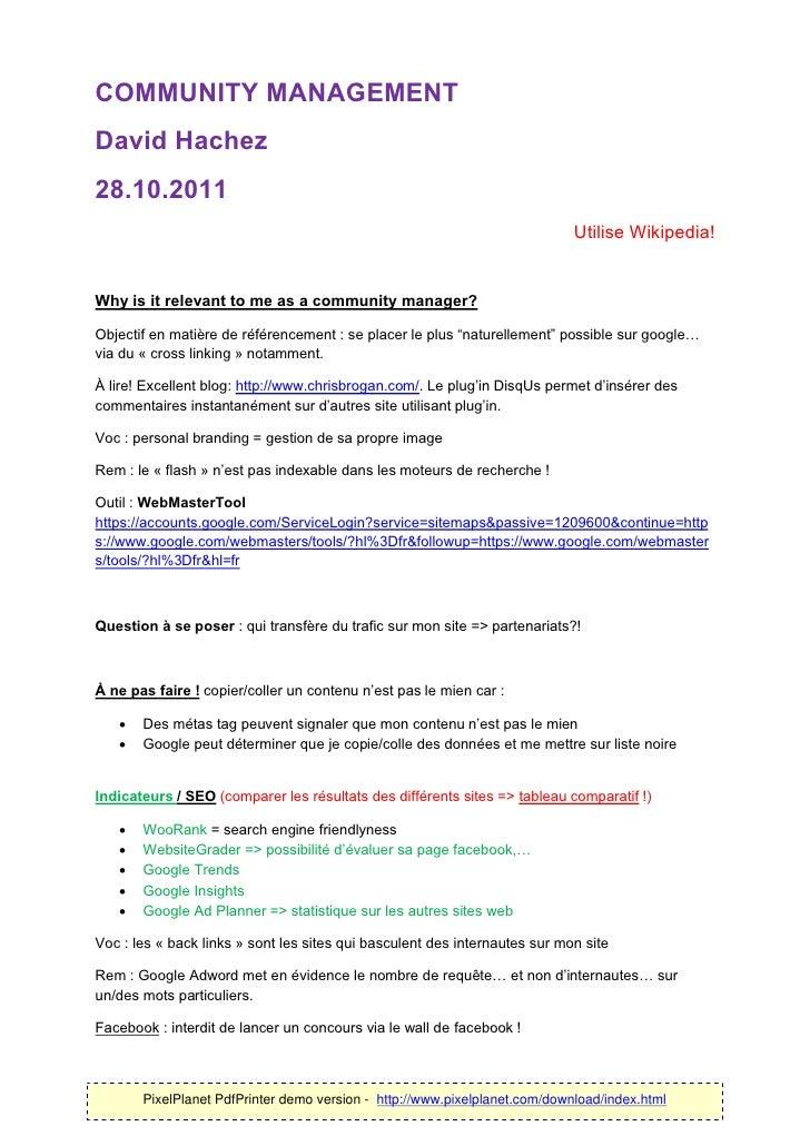 COMMUNITY MANAGEMENTDavid Hachez28.10.2011                                                                            Util...