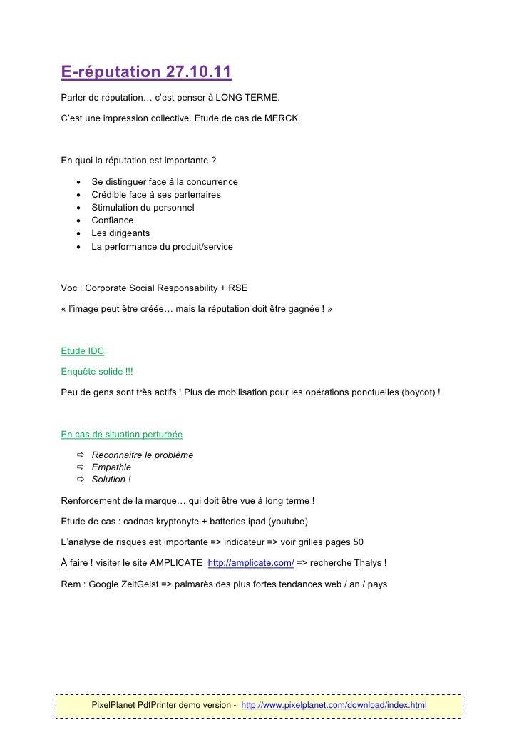 E-réputation 27.10.11Parler de réputation… c'est penser à LONG TERME.C'est une impression collective. Etude de cas de MERC...