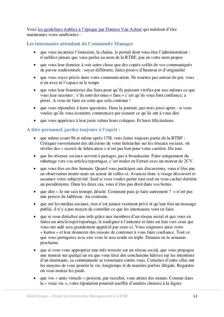 Voici les guidelines établies à l'époque par Damien Van Achter qui méritent d'êtremaintenues voire améliorées :Les interna...