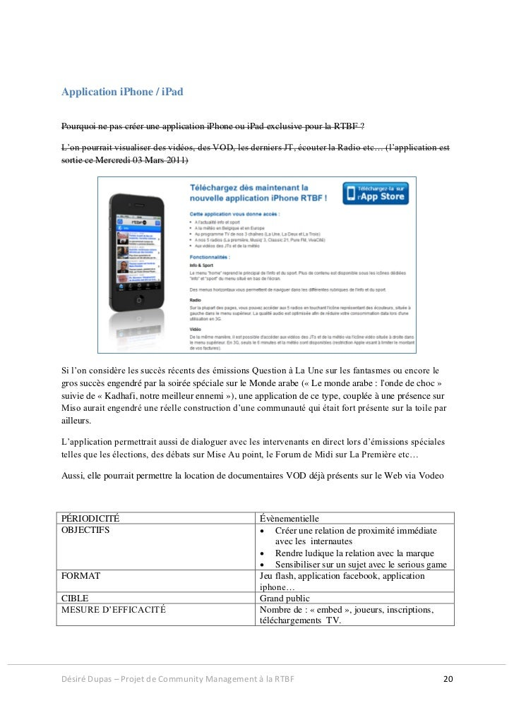 Application iPhone / iPadPourquoi ne pas créer une application iPhone ou iPad exclusive pour la RTBF ?L'on pourrait visual...