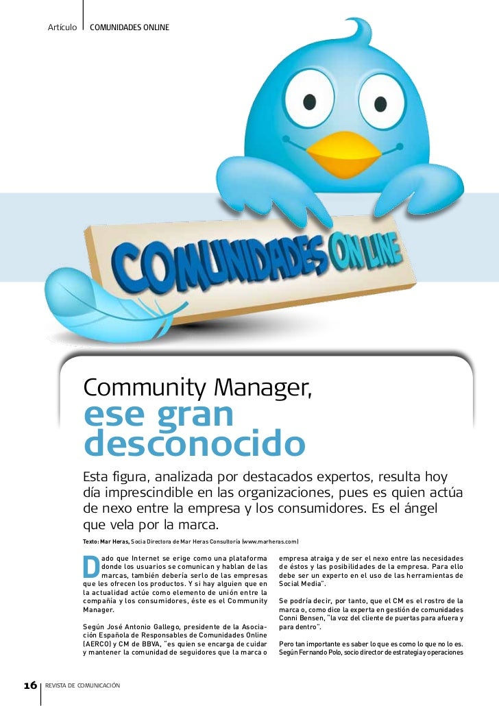 Artículo     Comunidades onLine                     Community Manager,                 ese gran                 desconocid...