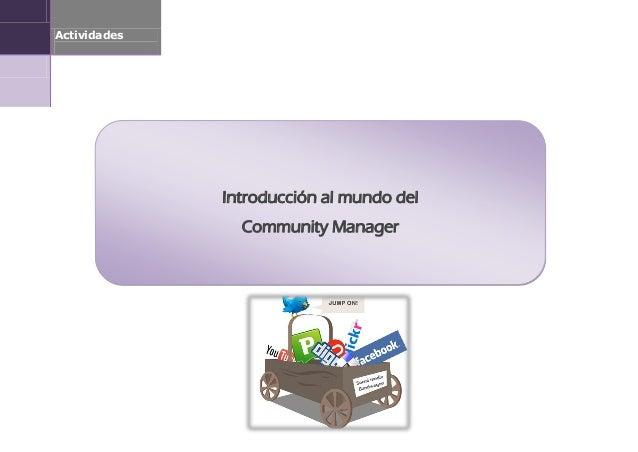 Actividades              Introducción al mundo del                Community Manager