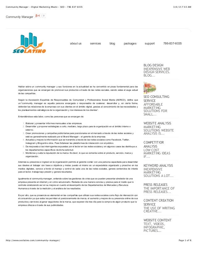 3/4/15 7:43 AMCommunity Manager - Digital Marketing Miami - SEO - 786 837 6035 Page 1 of 8http://www.seolatino.com/communi...