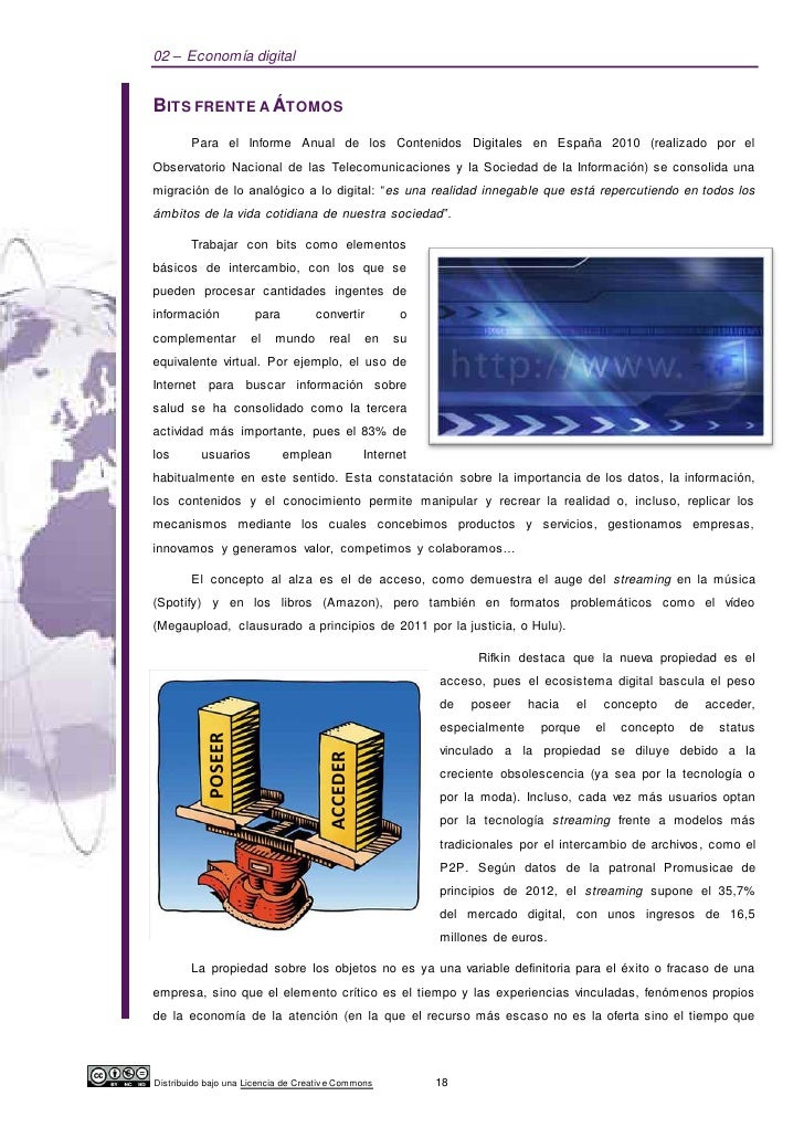 02 – Economía digitalBITS FRENTE A ÁTOMOS        Para el Informe Anual de los Contenidos Digitales en España 2010 (realiza...