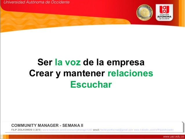 Community manager en la estrategia de comunicacion uao dia2,3