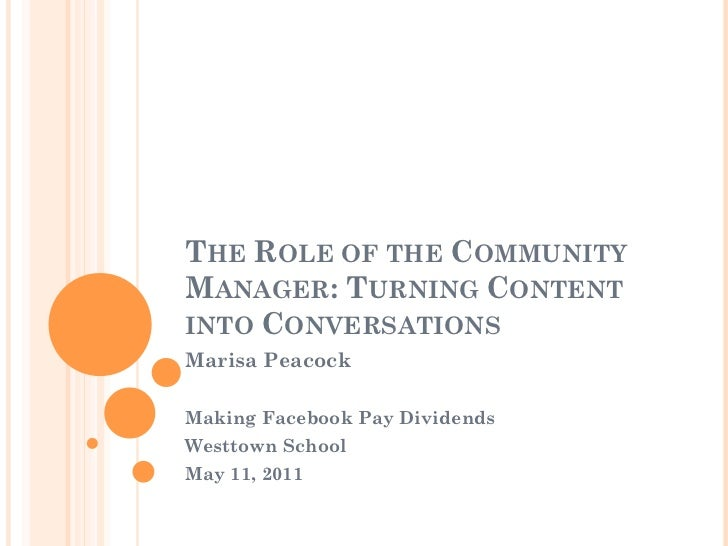 THE ROLE OF THE COMMUNITYMANAGER: TURNING CONTENTINTO CONVERSATIONSMarisa PeacockMaking Facebook Pay DividendsWesttown Sch...