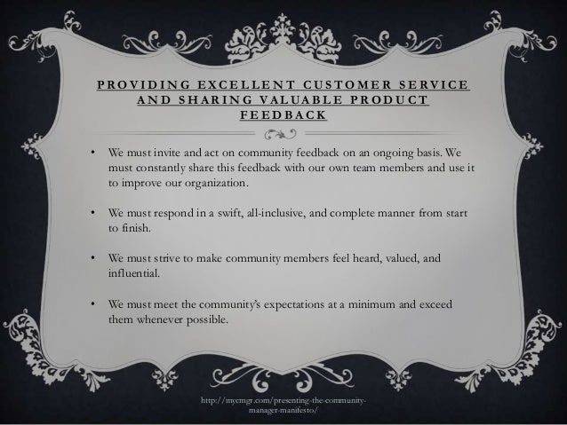 PROVIDING EXCELLE NT CUSTOMER SERVICE        A N D S H A R I N G V A L UA B L E P R O D U C T                         FEED...