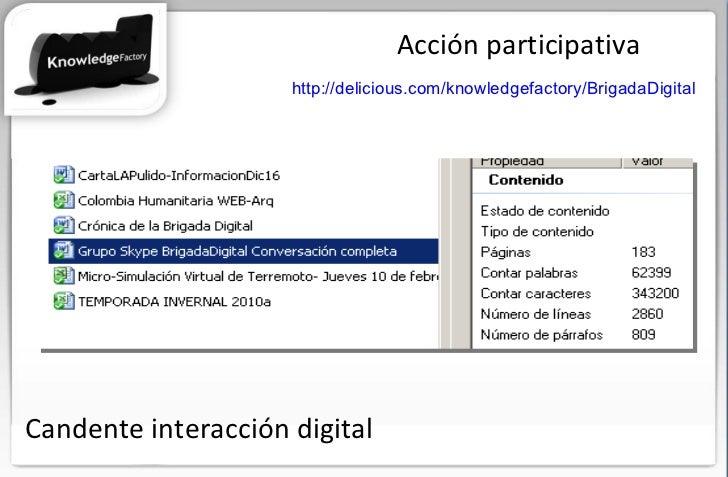 Acción participativa http://delicious.com/knowledgefactory/BrigadaDigital   Candente interacción digital