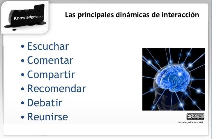 Las principales dinámicas de interacción <ul><li>Escuchar </li></ul><ul><li>Comentar </li></ul><ul><li>Compartir </li></ul...