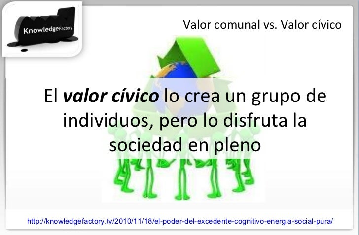 Valor comunal vs. Valor cívico El  valor cívico  lo crea un grupo de individuos, pero lo disfruta la sociedad en pleno htt...