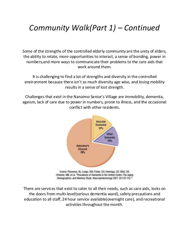 Community Walk(Part 1) – Continued Some of the strengths of the controlled elderly community are the unity of elders, the ...