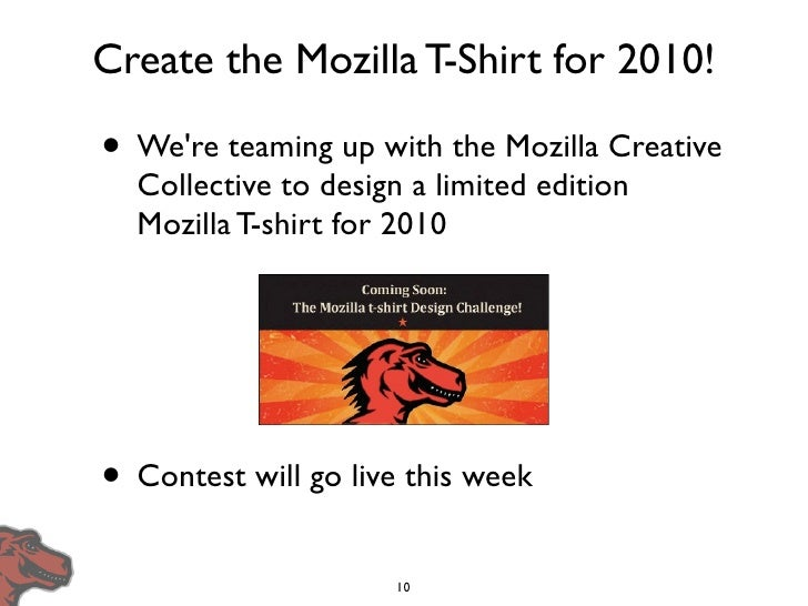 Create the Mozilla T-Shirt for 2010!  • We're teaming up with the Mozilla Creative   Collective to design a limited editio...