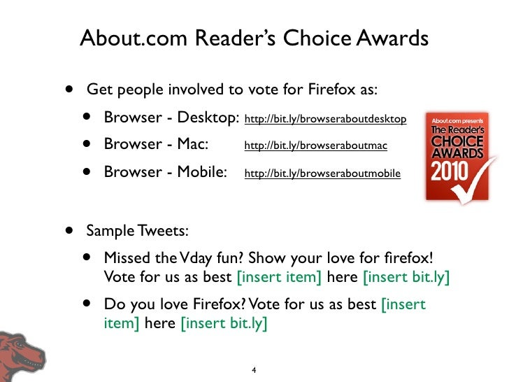 About.com Reader's Choice Awards  •   Get people involved to vote for Firefox as:     •   Browser - Desktop: http://bit.ly...